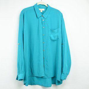 Michael Kors Womens Turquoise Silk Size XL Button
